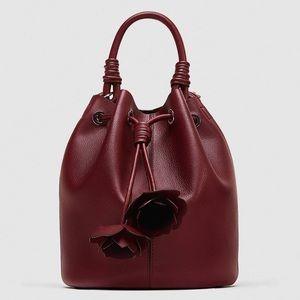 ZARA   Burgundy Embellished Bucket Bag